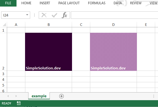 Excel output file for background and foreground color with FillPatternType.FINE_DOTS fill pattern