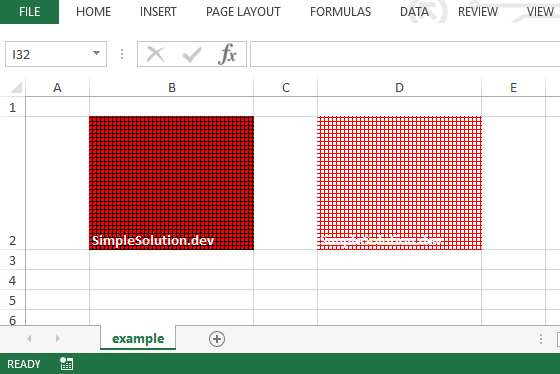 Excel output file for background and foreground color with FillPatternType.SQUARES fill pattern