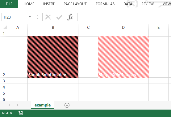 Excel output file for background and foreground color with FillPatternType.THICK_BACKWARD_DIAG fill pattern