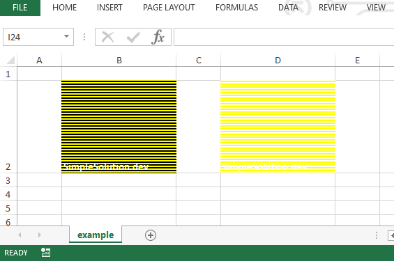 Excel output file for background and foreground color with FillPatternType.THICK_HORZ_BANDS fill pattern