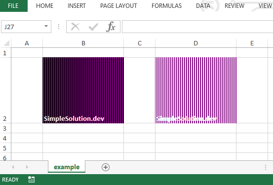 Excel output file for background and foreground color with FillPatternType.THICK_VERT_BANDS fill pattern