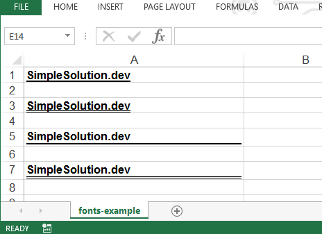 Apache POI Excel Cell Fonts