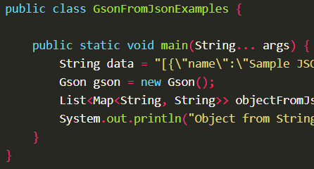 Deserializes JSON string into Java object using Gson.fromJson() with Gson