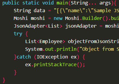 Deserializes JSON string into Java object using JsonAdapter.fromJson() with Moshi