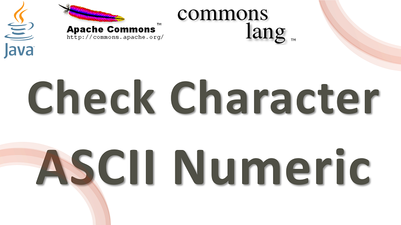 Java Check Character is ASCII Numeric using Apache Commons Lang