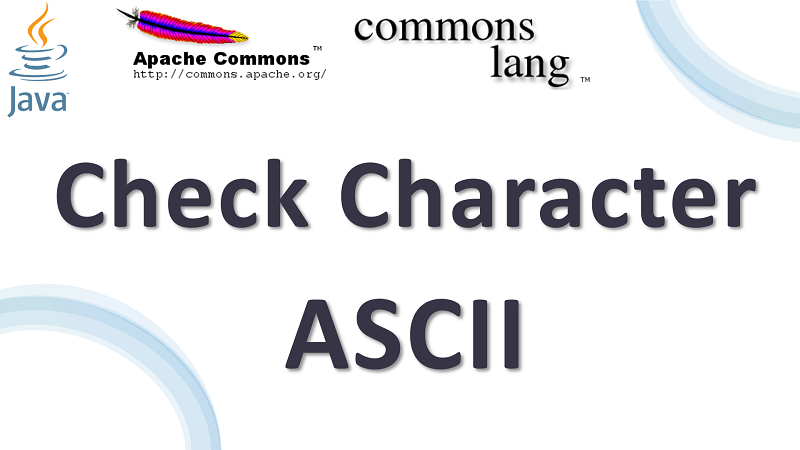 Java Check Character is ASCII using Apache Commons Lang