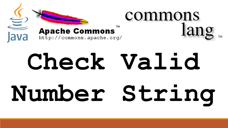 Check if a String is a valid numeric value in Java using Apache Commons Lang