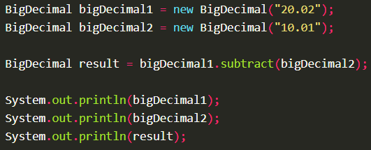 Subtract two BigDecimal values