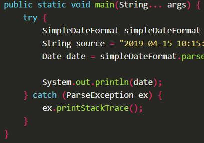 Parses a String value to Date value with given format yyyy-MM-dd HH:mm:ss