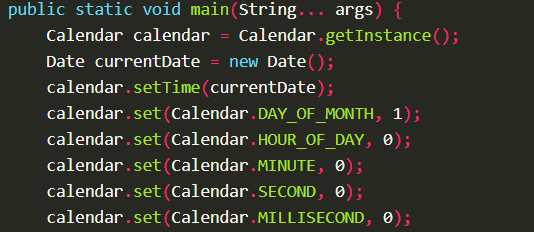 Get Last Date of Current Month using Calendar