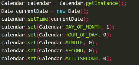 Get First Date of Current Month using Calendar