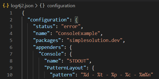 Log4j 2 JSON Configuration with Console Appender