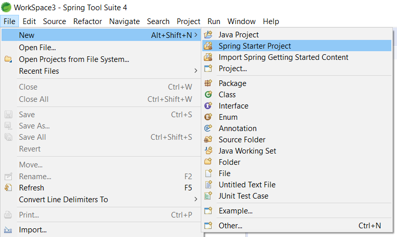 Spring Boot Web Upload File - Create New Spring Starter Project