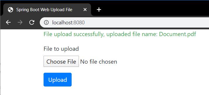 Spring Boot Web Application Upload File