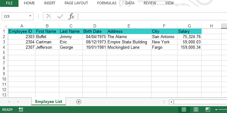 Sample Output Excel File